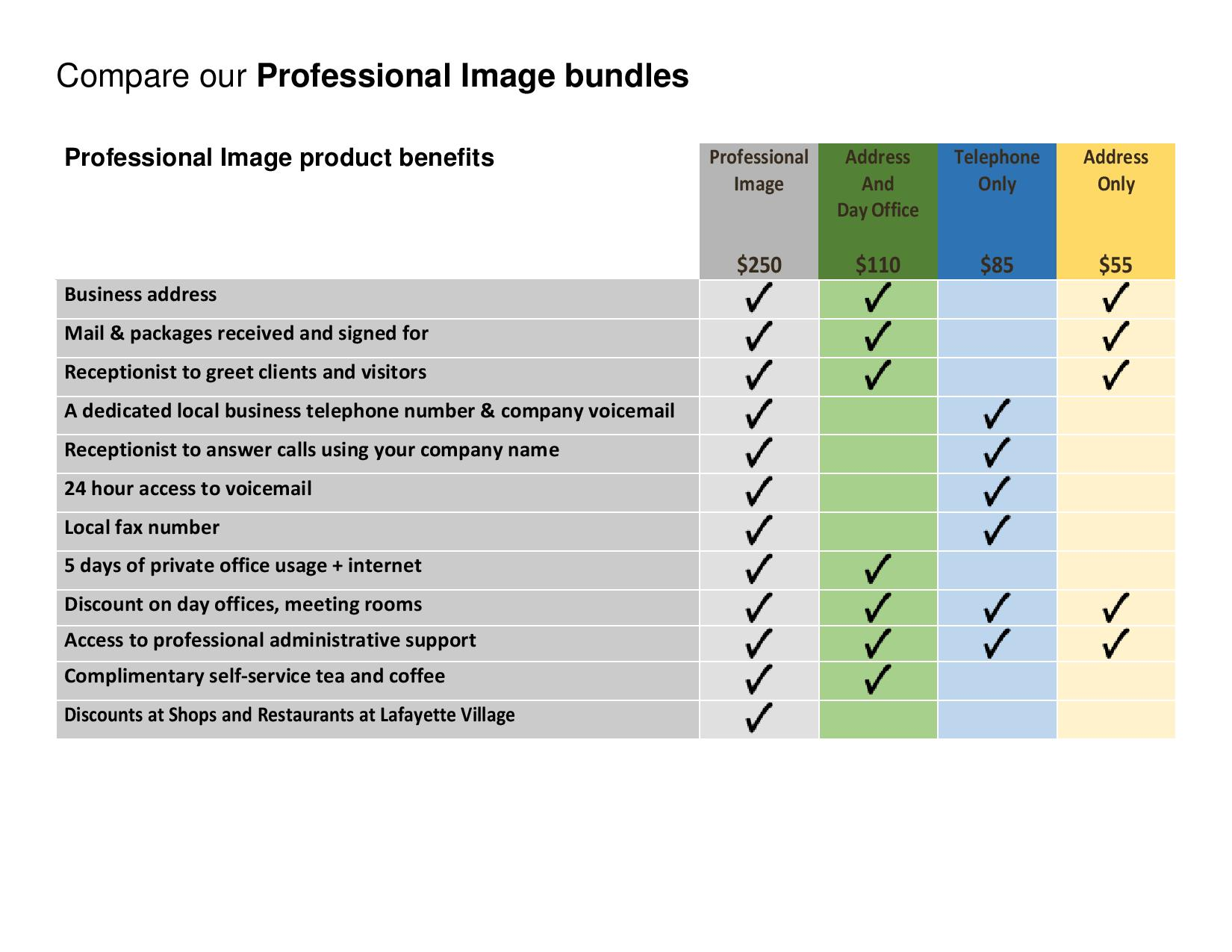 virtual office packages with a professional image of your company